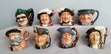 8 Miniature Toby Jugs Royal Doulton For Resale Or Collection Vintage Excellent
