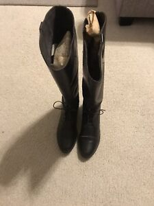 Women's Leather Lace Up Riding Boots Size 9 Made In USA