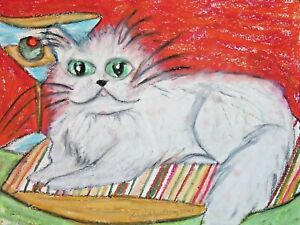 PERSIAN CAT ACEO PRINT Mini MARTINI Art 2.5 X 3.5 Signed Artist KSams