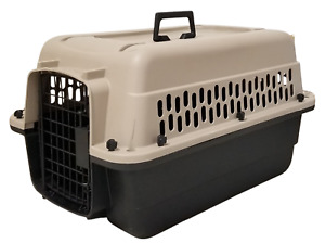 """Top Paw Plastic Dog Travel Crate Kennel (24"""") Tan/Black G7198"""
