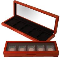 Certified Coins Oak Box Display Case 5 Graded NGC PCGS ANACS Slabs USA Free S&H