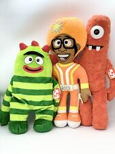 "Yo Gabba Gabba Lot Of 3 Stuffed Animal Plush Toys: Dj Lance, Brobee & Muno 13"""