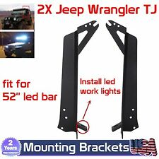 For jeep Wrangler TJ Steel Windshield A-pillar Mount Bracket 52inch LED Work Bar
