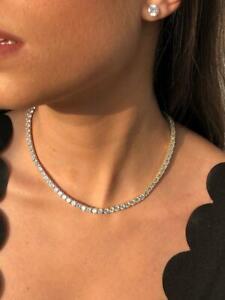 Platinum Sterling Silver White Sapphire Classic Design Bridal Tennis Necklace