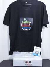 Sound Activated Light Up Apple T-Shirt Black Size L FLASHING MUSIC WEAR