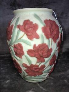 "Phoenix Consolidated White Satin Vase Flower Sculpted Rim Carnation Design 11"""