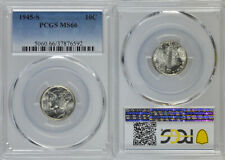 """1945-S PCGS MS66 UNCIRCULATED SILVER WINGED LIBERTY """"MERCURY"""" 10 DIME !!!"""