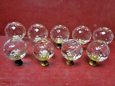 9 AUTHENTIC MID CENTURY GLASS & BRASS KNOBS #0