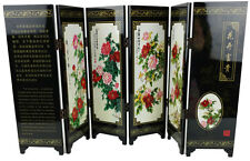 Miniature Oriental floral dressing screen peony Chinese black lacquer wood  9.5""