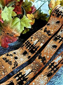HALLOWEEN on natural burlap style - 30mm 38mm & 63mm - Luxury Wire Edge Ribbon