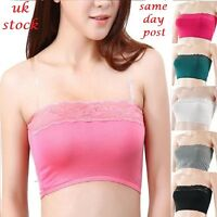 Women French Lace Plain Boob Tube Strapless Bandeau Stretch Vest Bra Crop Top UK