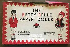 """1929 """"THE BETTY BELLE PAPER DOLLS"""" IOB BY REA-HARRISON ST. PAUL, MINN. w/CRAYONS"""
