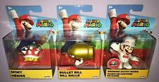 3x SUPER MARIO GOLD BULLET BILL + SPINY & WEDDING OUTFIT MARIO 3 Inch Figures