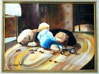 "M JANE DOYLE SIGNED ORIG ART OIL/CANV.PAINTING ""TWO SLEEPYHEADS""(FIGURE)FRAMED"