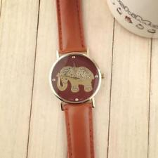 Ladies Fashion Gold Elephant Design Brown Dial Quartz Brown Band Wrist Watch.