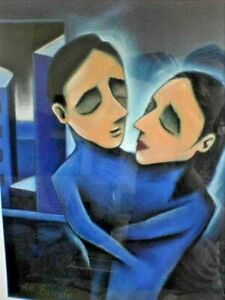 "De Borde - Gorgeous Framed Australian Crayon Art ""Blue Room"" Lovers 60x80"