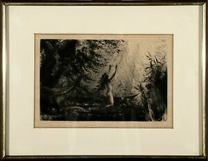 W Wolfgang Breuer German 1895-1927 Female Nude Figural Study Etching Signed 1/50