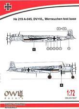 Owl Decals 1/72 HEINKEL He-219A-045 DV+VL Werneuchen Test Base