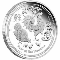 2017 Australia PROOF Lunar Year of the Rooster 1oz SIlver $1 Coin w/ COA