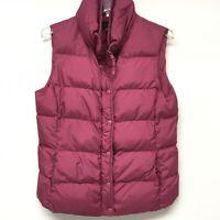 J Crew Size M Puffer Vest Down Zip Snap Jacket Fuchsia Pink Pockets Women's