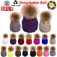 Winter Womens Ladies Warm Knitted Rabbit Real Fur Pom Beanie Bobble Ski Hat Cap