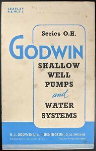 Original Godwin Shallow Well Pumps & Water Systems Sales Brochure, c 1960's