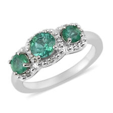 925 Sterling Silver Rhodium Plated AAA Emerald Ring Jewelry for Women Ct 0.7