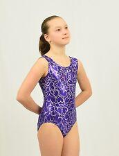 Gymnastics Tank Leotard size Med Child purple/silver foil print