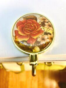 Portable purse handbag table hook hanger ROSE brass coated metal