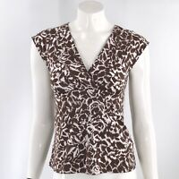 BCBG Max Azria Top Size Medium Brown V Neck Tie Back Cap Sleeve Stretch Womens