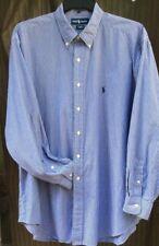 Ralph Lauren Men's Shirt 17 1/2 Long Sleeve Button Down 100% Cotton Blue Striped