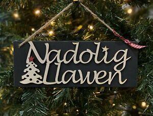Nadolig Llawen Slate and Wood Plaque