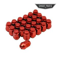 """24 QTY Red Bulge Lug Nuts 12x1.5 Threads Cone Seat Closed End Acorn 1.4"""" Length"""