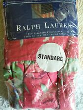 Ralph Lauren Beach House Fuchsia Red Floral Ruffled 2 Standard Pillowcases NEW