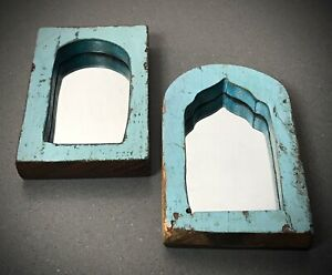 ANTIQUE VINTAGE INDIAN, SMALL PAIR ARCHED TEMPLE MIRRORS. TWO-TONE TURQUOISE.