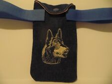 DOG LOVERS PHONE HOLDER EMBROIDERY ADJUSTABLE BELT LOOP STRAPS RECYCLED HANDMADE