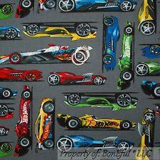 BonEful Fabric FQ Cotton Quilt Gray Sport CAR Red Blue Muscle Hot Wheel Matchbox