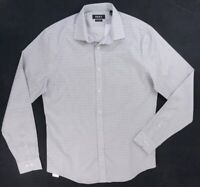 NEW DKNY WHITE & GRAY DETAILED SLIM FIT STRETCH BUTTON DOWN SHIRT SZ 15.5 34/35