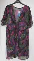 LADIES MARKS AND SPENCER WINE MIX FLORAL CROSSOVER BEACHWEAR COVER UP SIZE S