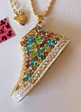 NEW! Betsey Johnson Crystal Rhinestone Enamel Tennis Shoe Necklace Pendant