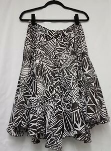 Bandolera Brown & Cream Printed Skirt Size 10 Inverted Pleat Flare Skirt B42