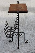 Vintage Magazine Newspaper Basket Side Table Plant stand Wrought Iron #727