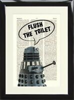 Dalek Doctor Who  Flush The Toilet Art Print Dictionary Page Funny Loo Sign