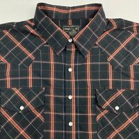 High Noon Pearl Snap Up Shirt Men's XLG Short Sleeve Orange Black Plaid Casual