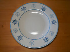 "Royal Norfolk BLUE SNOWFLAKE Set of 3 Dinner Plates 11 1/4"" Blue on Cream"