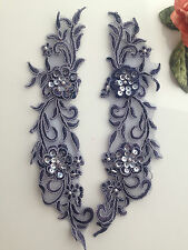 1Pair Beautiful Bridal Lace(motif) Flower with Pearl/Beaded 29x6.5cm Navy Blue