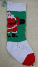 """Original Vintage Hand Knit Home Made Knitted Chrismas Santa Stocking 24"""" No Name"""