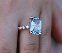 3.50Ct Emerald Cut Aquamarine Diamond Halo Engagement Ring 14k Rose Gold Finish