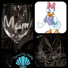 Personalised Disney Daisy Duck Wine Glass Any Name Engraved Mum Mothers Day Gift