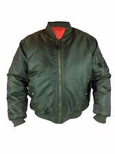 Mens Classic Heavy Duty Ma1 Military Pilot Bomber Jacket Reversible L Olive